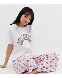 ASOS - Asos Design Petite Sweet Dreaming Pyjama T-shirt & Trouser Set - Lyst