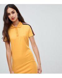 5bd45b3310687 Bershka - Polo Collar Ribbed Dress In Mustard - Lyst