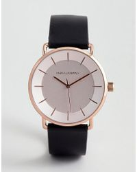 ASOS - Watch In Black With Minimal Rose Gold Case And Dial - Lyst