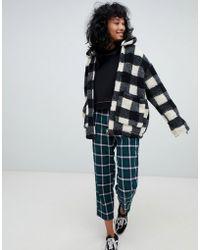 Pull&Bear - Borg Mono Jacket In Mono - Lyst
