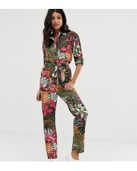 ASOS - Asos Design Tall Tropical Print Boilersuit - Lyst