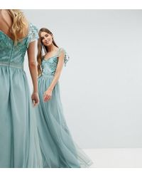 Amelia Rose - Embellished Top Maxi Dress With Frill Sleeve Detail - Lyst