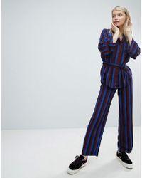 Monki - Stripe Wide Leg Trouser - Lyst