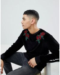 Boohoo - Sweat With Floral Embroidery In Black Velvet - Lyst