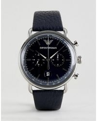 Emporio Armani - Ar11105 Chronograph Leather Watch In Navy 43mm - Lyst
