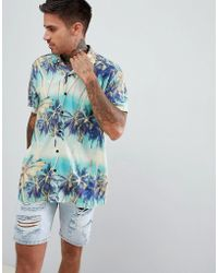ASOS - Design Oversized Hawaiian Palm Tree Printed Shirt With Revere Collar - Lyst
