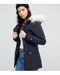 New Look - Faux Fur Hood Parka - Lyst