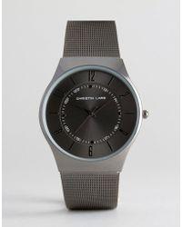 Christin Lars - Gunmetal Watch With Round Black Dial - Lyst