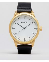Breda - Rand Black Leather Watch With Gold Face - Lyst