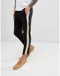 Bershka - Side Stripe Joggers In Black - Lyst
