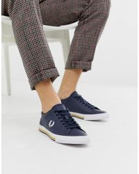 Fred Perry - Underpsin Leather Trainers In Navy - Lyst