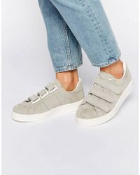 Pieces - Siri Off White Suede Velcro Trainers - Lyst