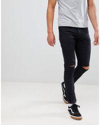 Mennace - Black Slashed Relaxed Skinny Makavelli Jeans - Lyst