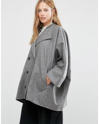 Cooper & Stollbrand - Oversize Double Breasted Short Coat In Gray - Lyst