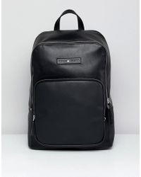 Tommy Hilfiger - Corporate Mix Faux Leather Backpack In Black - Lyst