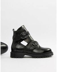 Bronx - Box Chunky Leather Cut Out Buckle Detail Ankle Boots - Lyst