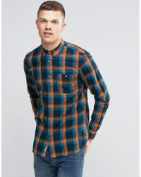 Bench - Long Sleeve Check Shirt With Pocket - Navy - Lyst