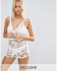 Wolf & Whistle - Lace Beach Playsuit - Lyst