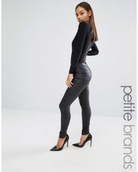 Boohoo - Leather Look Skinny Jeans - Lyst