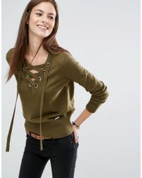 Abercrombie & Fitch - Lace Up V-neck Jumper - Olive - Lyst