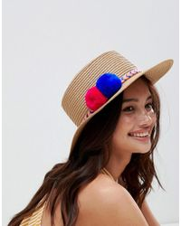 Liquorish - Summer Straw Hat With Embroiderd Brait And Pom Pom Detail - Lyst