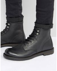 Shoe The Bear - Worker Leather Lace Up Boots - Lyst