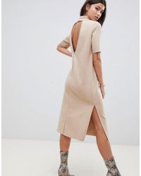 507927f8d362f ASOS Midi T-shirt Dress With High Neck - Gray in Gray - Lyst