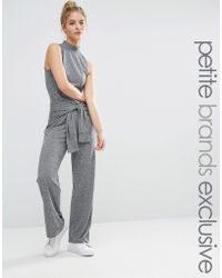 Noisy May Petite - Roll Neck Sleeveless Jersey Jumpsuit With Tie Waist - Lyst