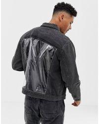 Liquor N Poker - Denim Jacket With Vinyl Panels In Black - Lyst