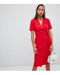 Boohoo - Wrap Midi Dress - Lyst