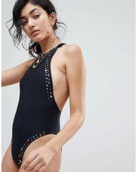 Jaded London - Jaded 80's Emebllished High Leg Swimsuit - Lyst