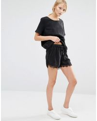 Just Female - Quil Lace Trim Shorts - Lyst