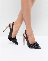 Lost Ink - Black Pearl Detail Ruffle Heeled Shoes - Lyst