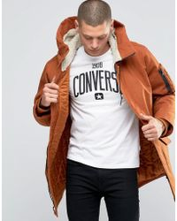 Converse - Hooded Fishtail Parka Coat In Brown 10001185-a05 - Lyst