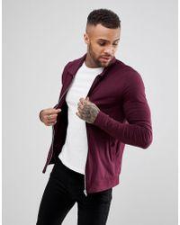 ASOS - Lightweight Muscle Jersey Harrington Jacket In Burgundy - Lyst