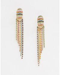 ASOS - Earrings Pastel Crystal Waterfall Earrings In Gold - Lyst