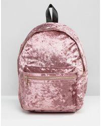 Missguided - Crushed Velvet Backpack - Lyst