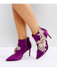 ASOS - Elegance Wide Fit Embellished Pointed Ankle Boots - Lyst