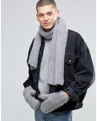 adidas Originals - Scarf And Glove Set In Gray Ay9042 - Lyst