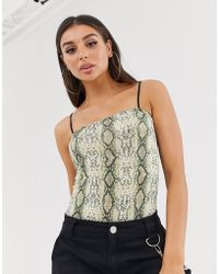 Missguided - Square Neck Body In Snake Print - Lyst