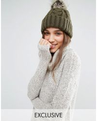 Stitch & Pieces | Knitted Faux Fur Pom Beanie - Khaki | Lyst