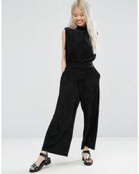 Weekday - High Neck Crop Velvet Jumpsuit - Black - Lyst