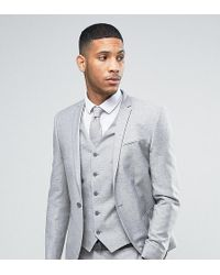 Noak - Wedding Skinny Suit Jacket In Linen Nepp - Lyst