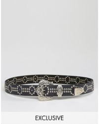 Retro Luxe London - Hand Studded Western Belt - Black - Lyst