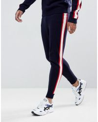 ASOS - Knitted Co-ord Joggers With Side Stripe In Navy - Lyst