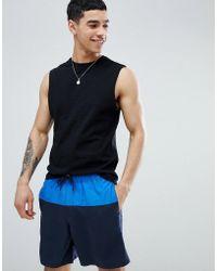 ASOS - Swim Short In Blue Cut & Sew In Mid Length - Lyst