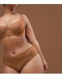 Ashley Graham - Nude High Cut Brief In Medium - Lyst