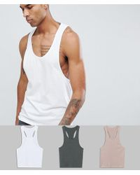 ASOS - Tall Vest With Extreme Racer Back 3 Pack Save - Lyst