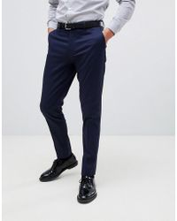 ASOS - Skinny Smart Trouser In Navy Cotton - Lyst