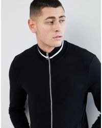 ASOS DESIGN - Muscle Jersey Track Jacket In Black With Contrast Tipping - Lyst